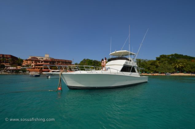 The yacht sitting docked in Sosua