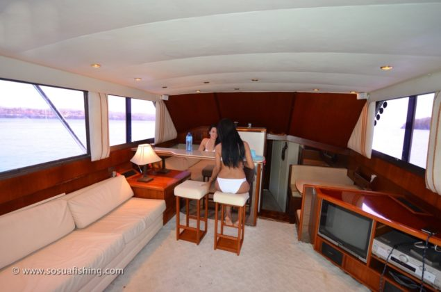 The salon of the Viking 48 is spacious