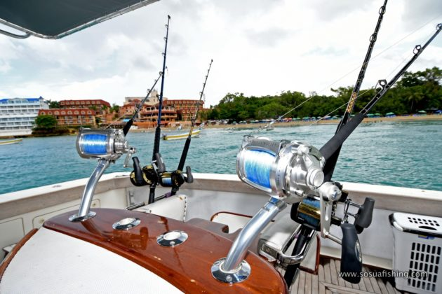 fishing rods and reels in the yacht deck
