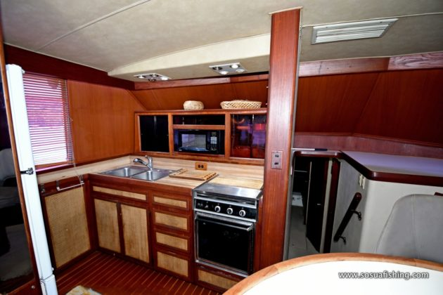 The yacht kitchen is quite roomy