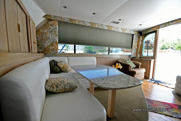 Dinette inside the yacht