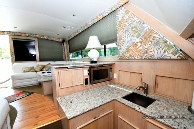 the post yacht kitchen with granite top